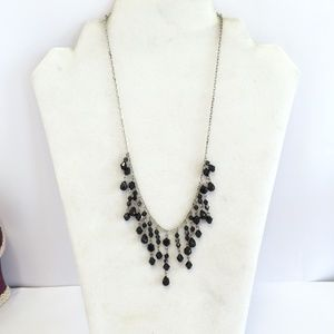 Baked Beads Black Crystal Necklace